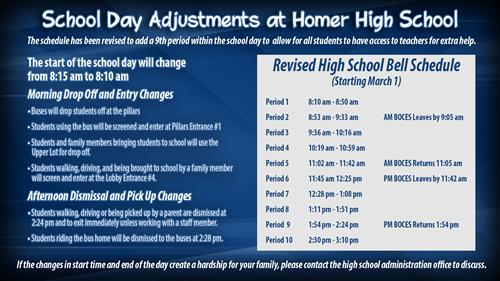 School Day Adjustments at Homer high